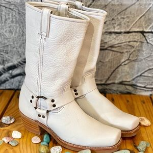 FRYE WHITE LEATHER MOTO BOOTS W11 MADE IN USA